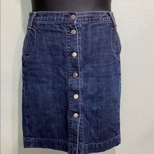 J. Crew button up denim jean skirt. Size 2